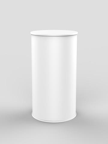White Blank Mini Pop Up Exhibition Counter 3d Render Illustration - Fotografie stock e altre immagini di Affari