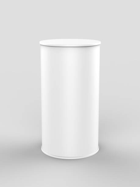 White blank mini pop up exhibition counter. 3d render illustration. stock photo