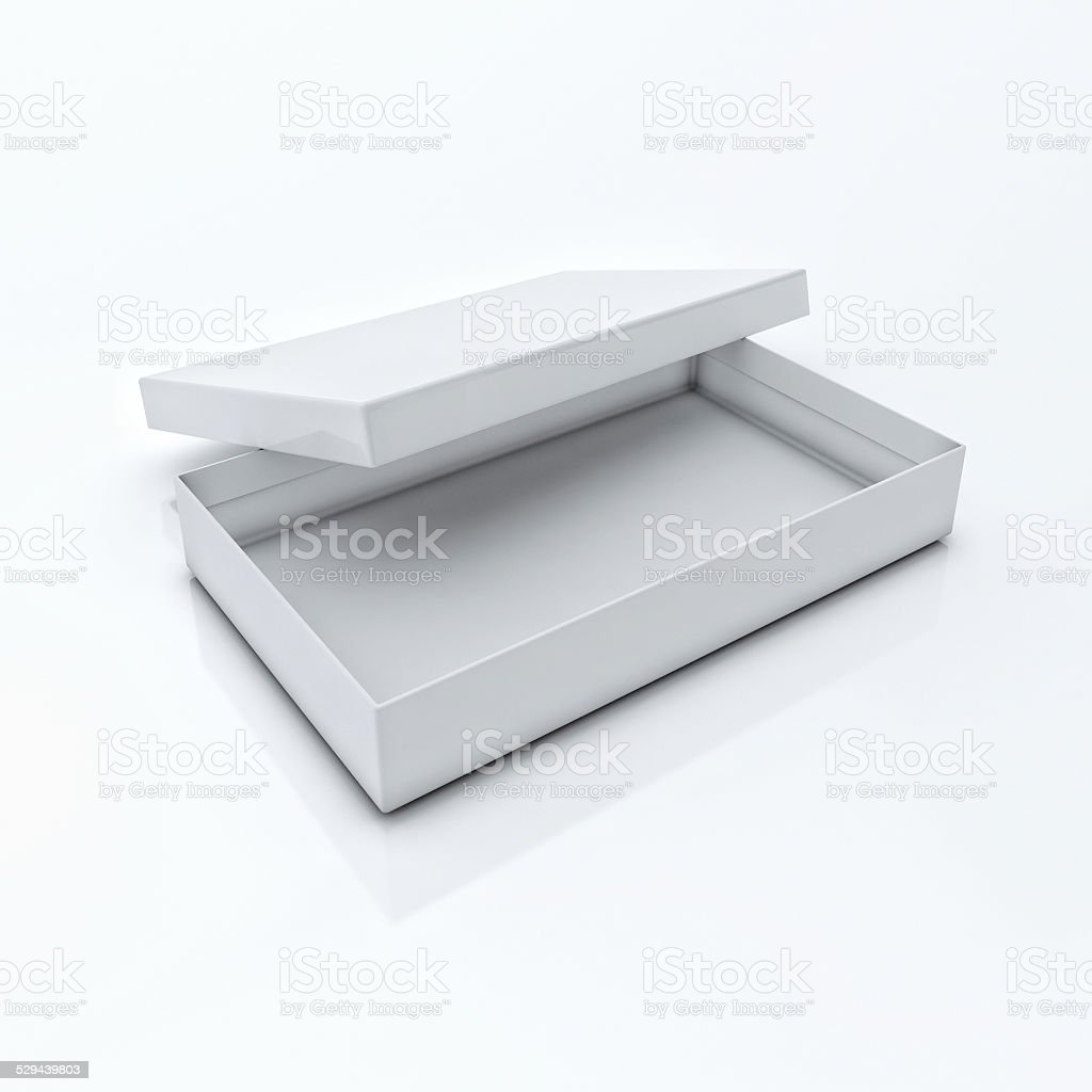 White Blank Open Box Isolated Over White Background stock photo