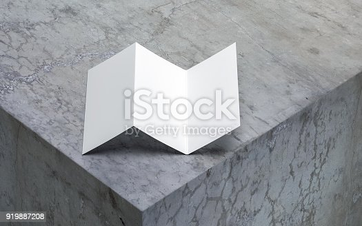 istock White Blank Opened Flyer Leaflet Mockup on concrete table 919887208