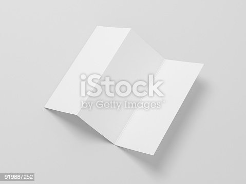 istock White Blank Opened Flyer Leaflet Mockup on gray background, invitation letter 919887252