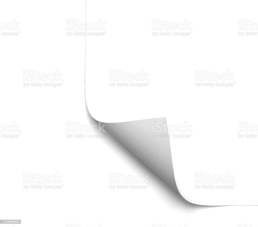 white blank page curl stock photo