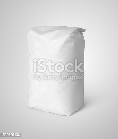 912671588istockphoto White blank paper bag package of flour on gray 522629406
