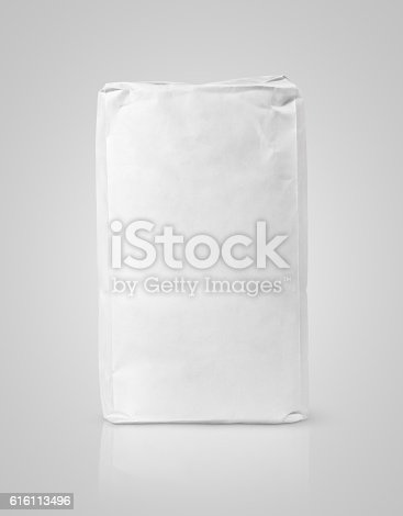 912671588istockphoto White blank paper bag package of flour on gray 616113496