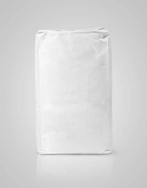 white blank paper bag package of flour on gray - sack stock pictures, royalty-free photos & images