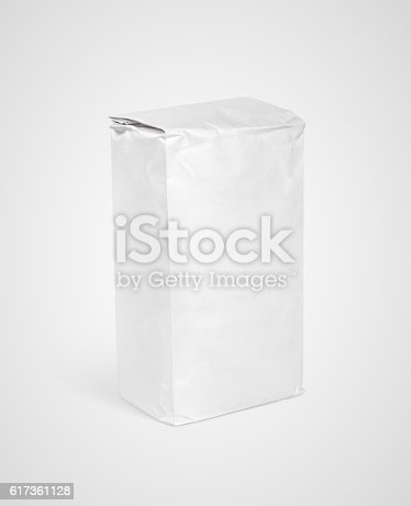 912671588istockphoto White blank paper bag package of flour on gray 617361128