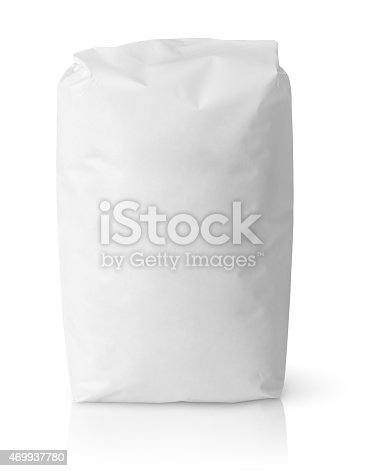 912671588istockphoto White blank paper bag package of flour 469937780