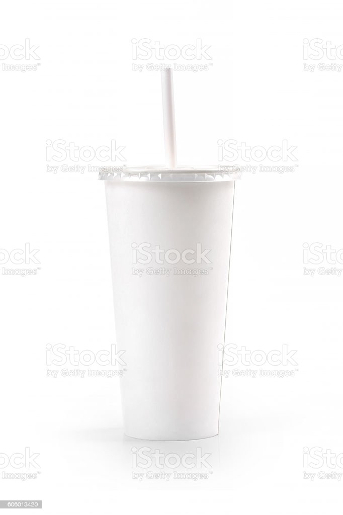 white blank paper cup with straw isolated on white background stock photo