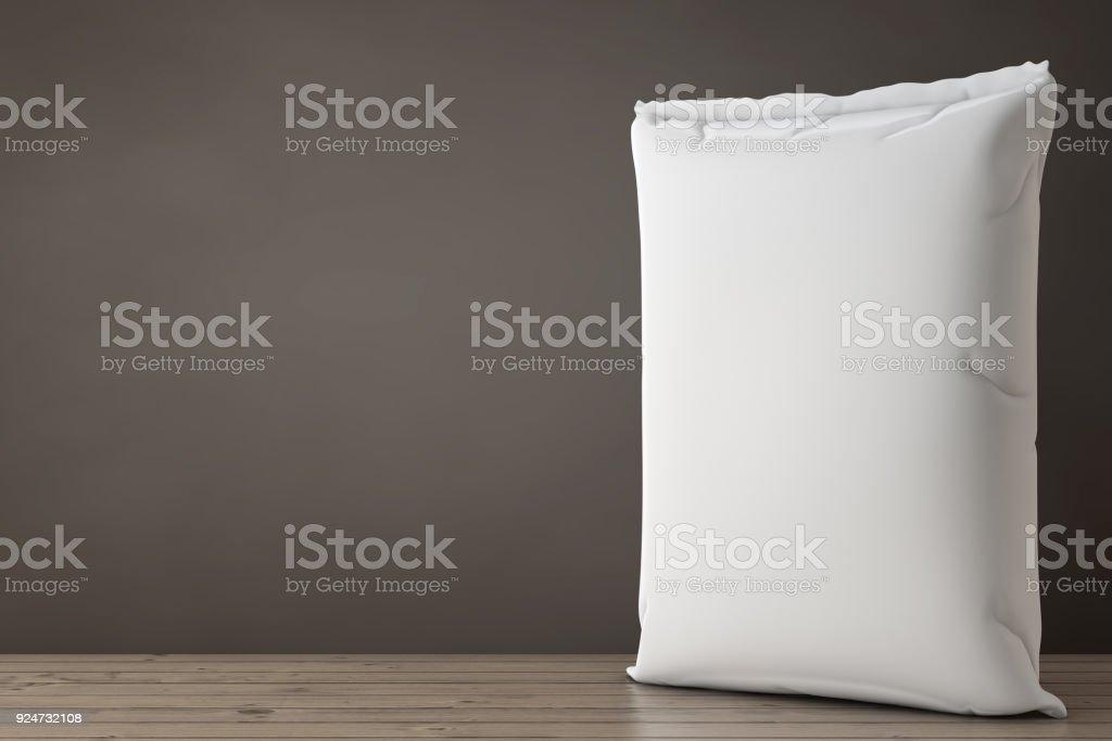 White Blank Paper Sack Cement Bag. 3d Rendering stock photo
