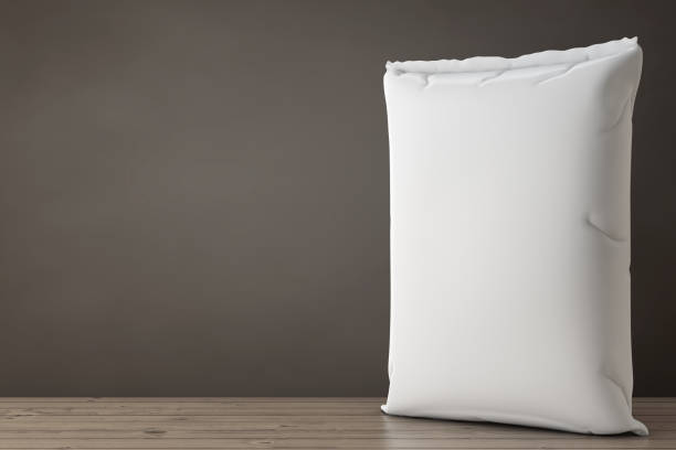 white blank paper sack cement bag. 3d rendering - sack stock pictures, royalty-free photos & images