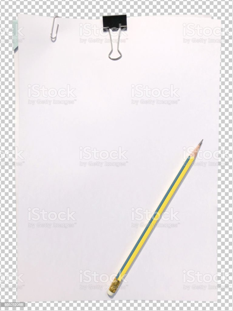 white blank paper with pencil stock photo