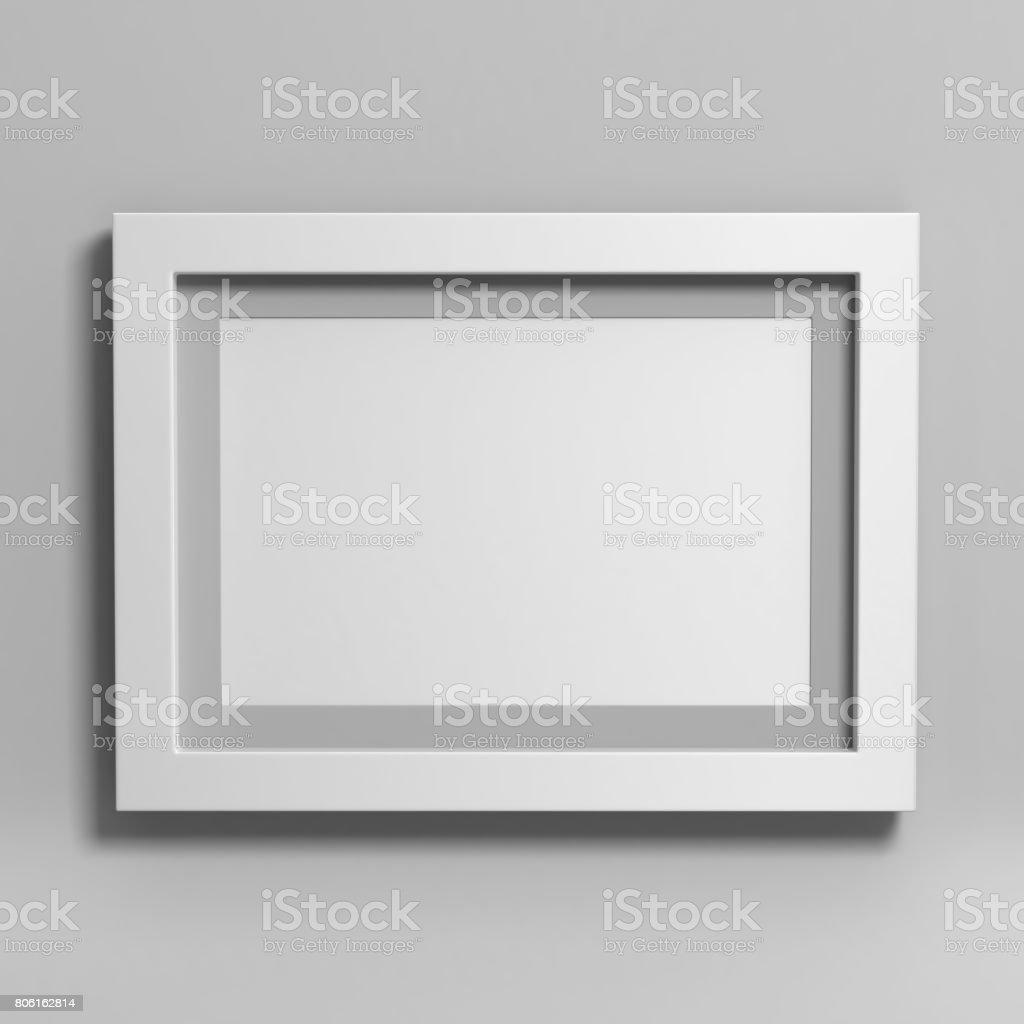 White blank photo frame on grey background. stock photo