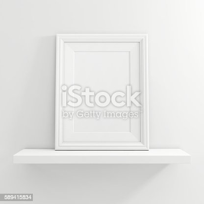 istock white blank photo frame on white shelf on white background 589415834