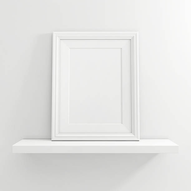 white blank photo frame on white shelf on white background - karten wandkunst stock-fotos und bilder