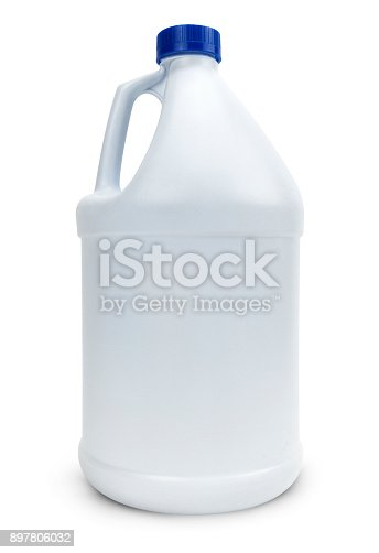 White empty plastic bottle on white background.