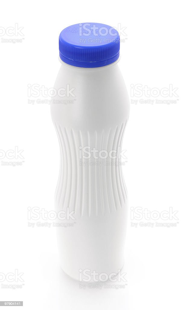 White blank plastic bottle with blue lid royalty-free stock photo