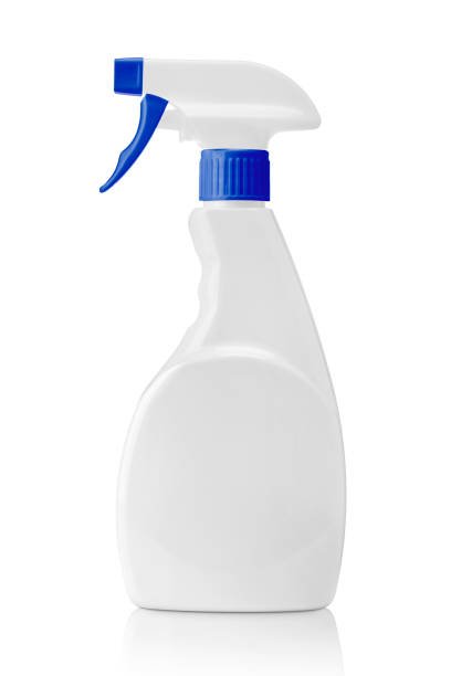 White blank plastic spray bottle isolated on white. Packaging mockup. White blank plastic spray bottle isolated on white background with clipping path. Packaging mockup. spraying stock pictures, royalty-free photos & images