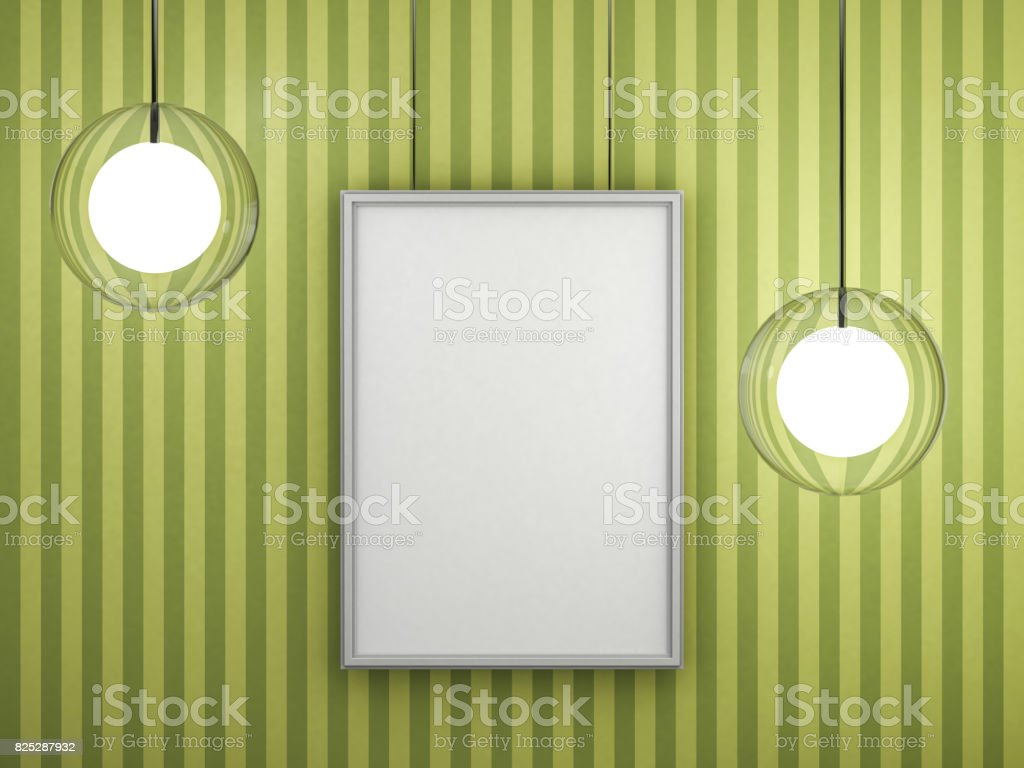White Blank Poster With Frame Mockup On Wall 3d Rendering Stock ...