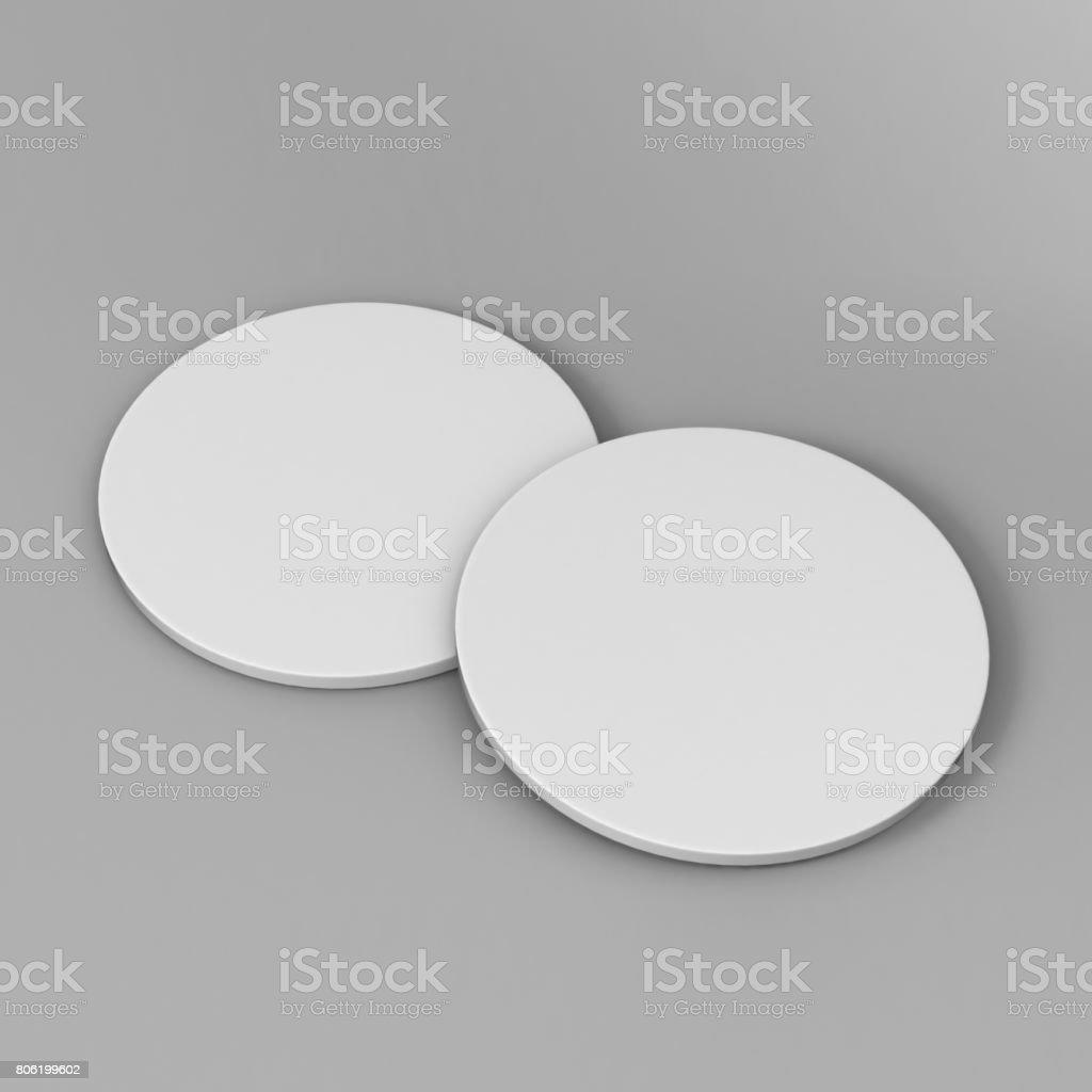 白空白ラウンド コースター分離灰色をデザイン テンプレートとモックの