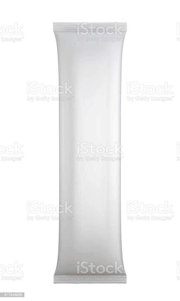 White blank sachet packaging. stock photo