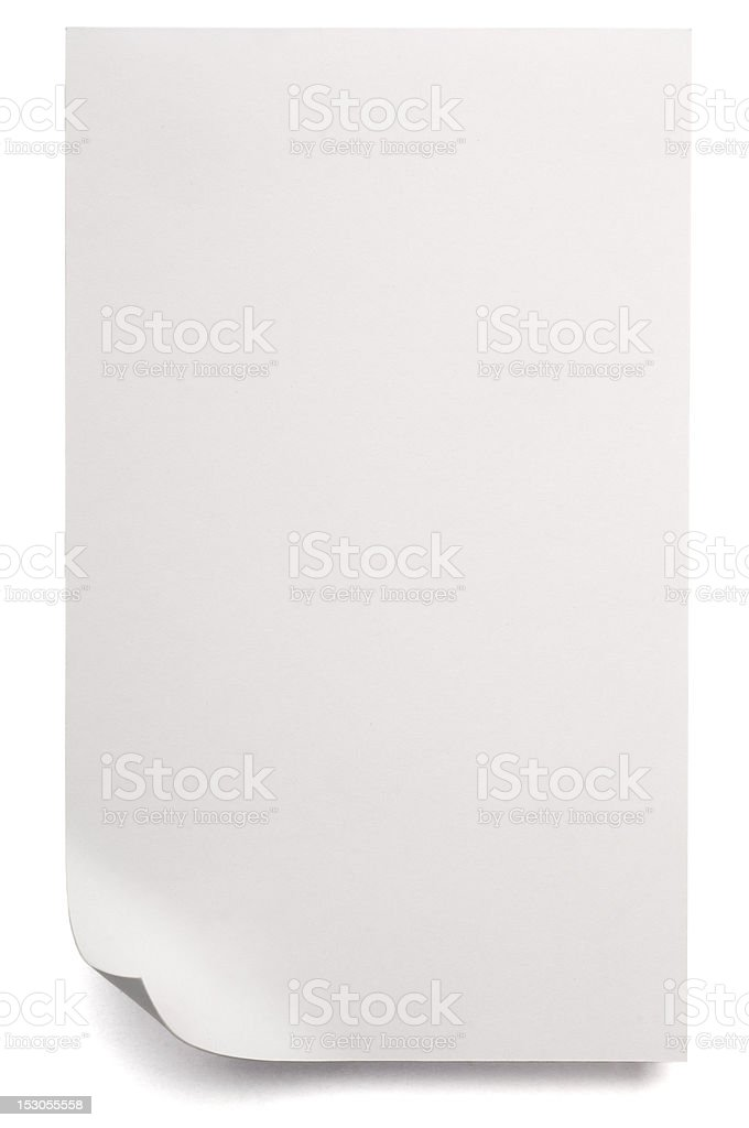 White blank sheet of Paper isolated on white royalty-free stock photo