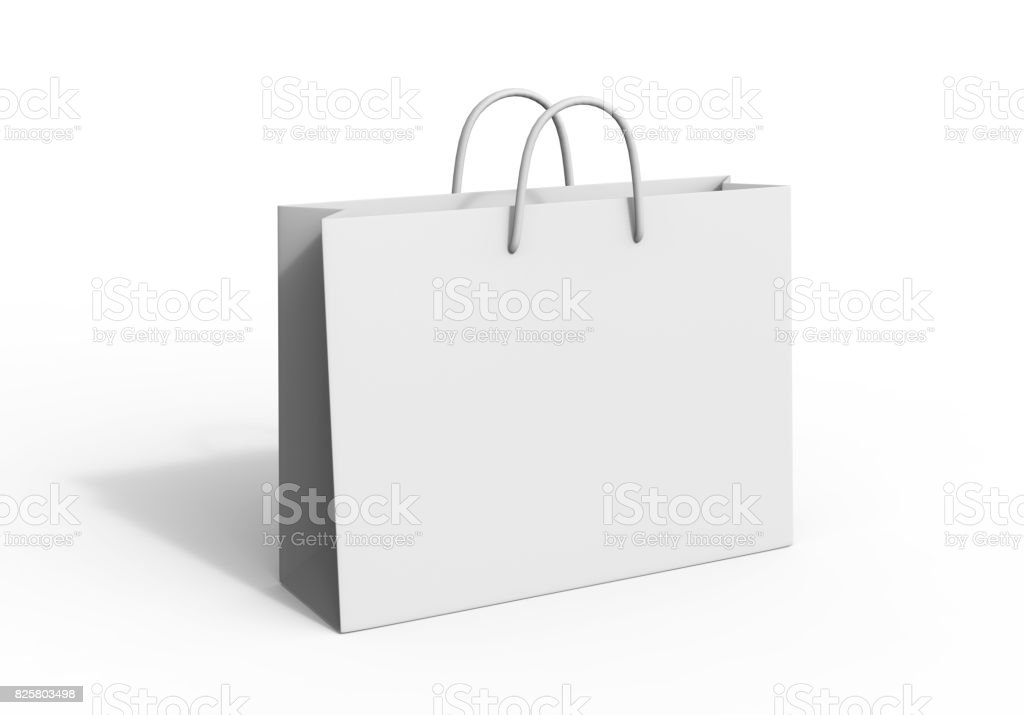 White blank shopping paper bag isolated on white background for mock up and template design. 3d render illustration. stock photo