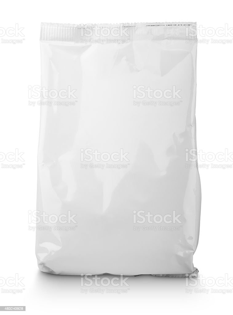 White blank Snack bag package stock photo