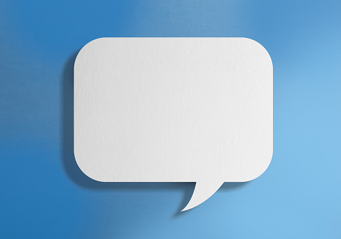 921154250 istock photo White blank speech bubble on blue background 1131004136