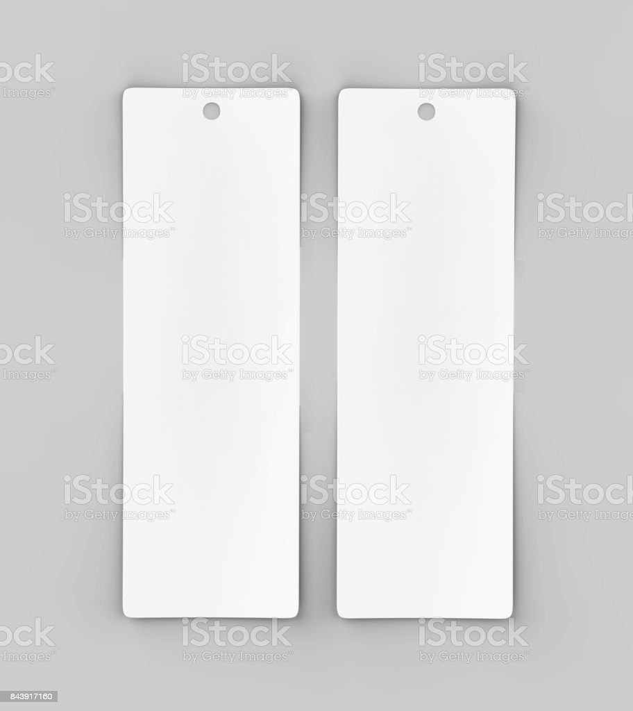 White blank tag or label and bookmark or bookmarker for template design and mock up. 3d render illustration. stock photo
