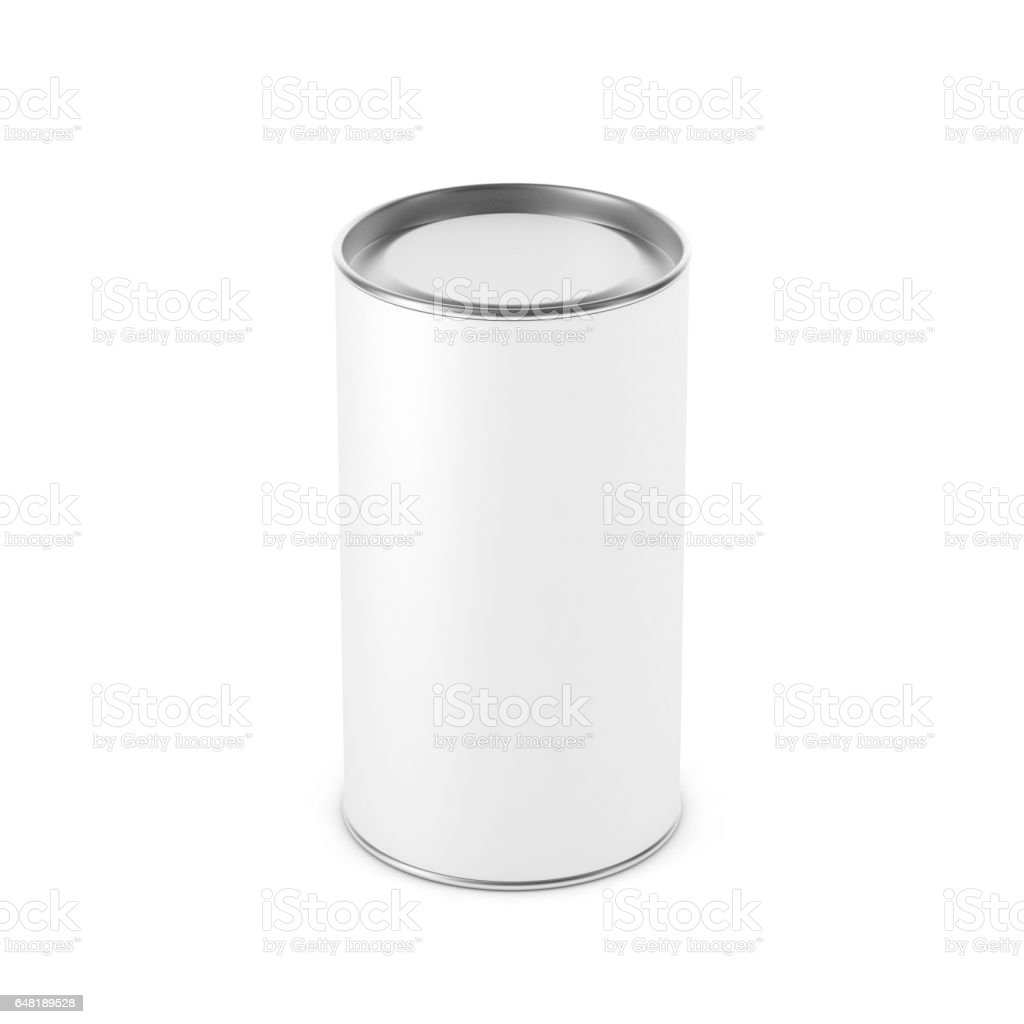 White Blank Tin can mockup. Cylindrical packaging 3d rendering stock photo