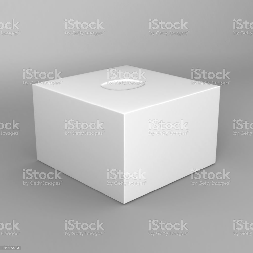 white blank tissue square box on grey background for print design