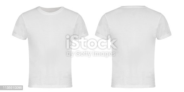 White Blank T-shirt Front and Back Isolated on White