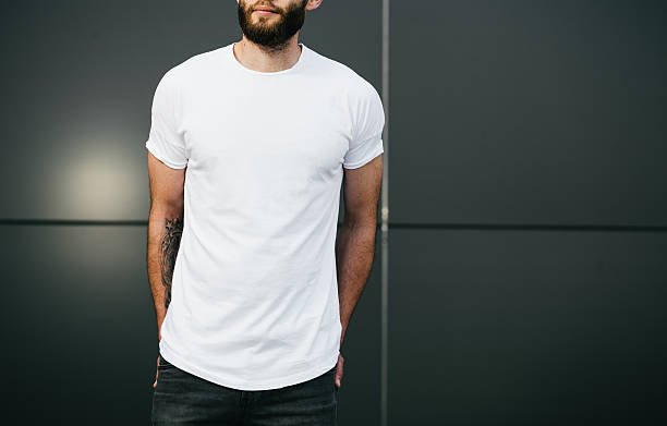 white blank t-shirt with space for your logo - t shirt stock photos and pictures