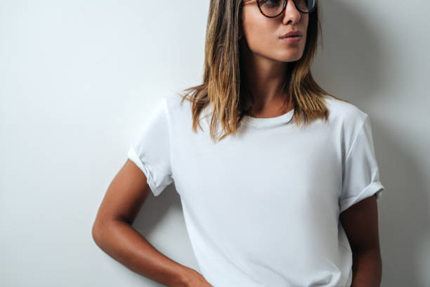 white blank t-shirt, woman model close-up stock photo