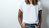 istock white blank t-shirt, woman model close-up 948337478