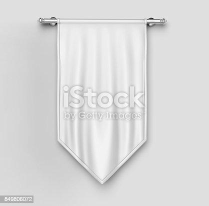 istock White blank Vertical Flag Banner Mock up template. 3d illustration. 849806072