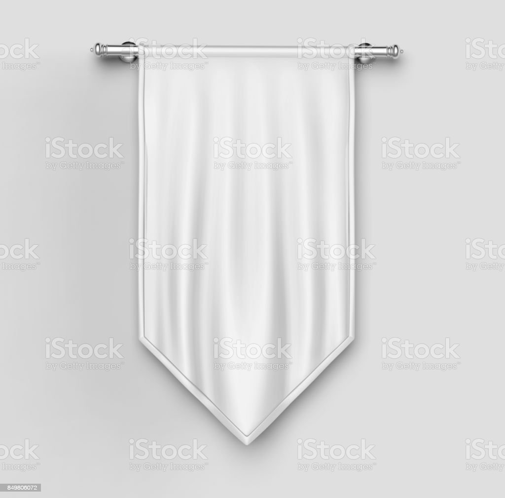 White blank Vertical Flag Banner Mock up template. 3d illustration. stock photo