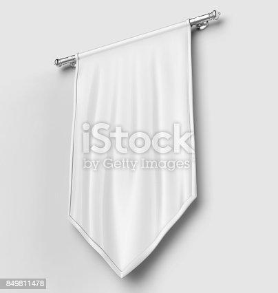 istock White blank Vertical Flag Banner Mock up template. 3d illustration. 849811478