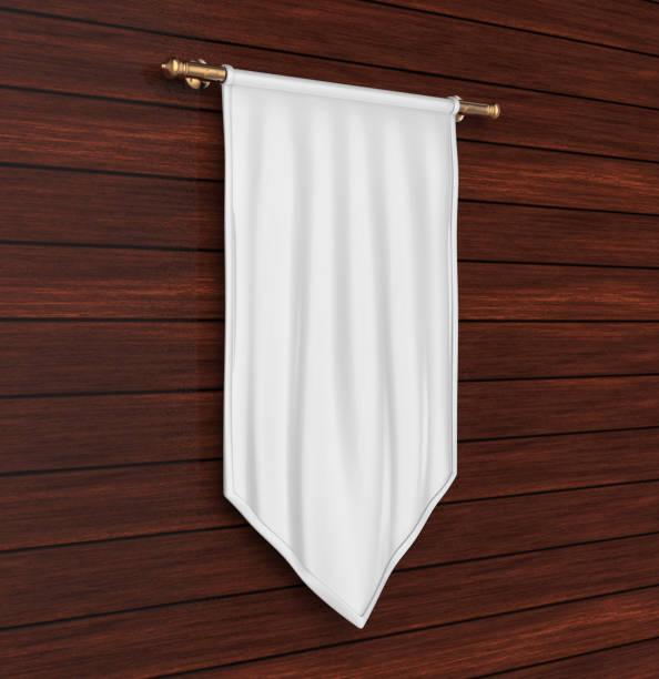 weiße leere vertikale flagge banner mock-up vorlage. 3d illustration. - hochmittelalter stock-fotos und bilder