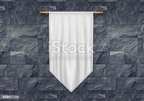 istock White blank Vertical Flag Banner Mock up template. 3d illustration. 849822104