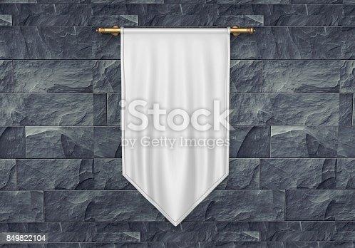 istock White blank Vertical Flag Banner Mock up template. 3d illustration. 849822104