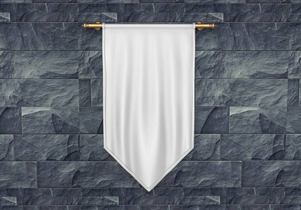 white blank vertical flag banner mock up template. 3d illustration. - periodo medievale foto e immagini stock