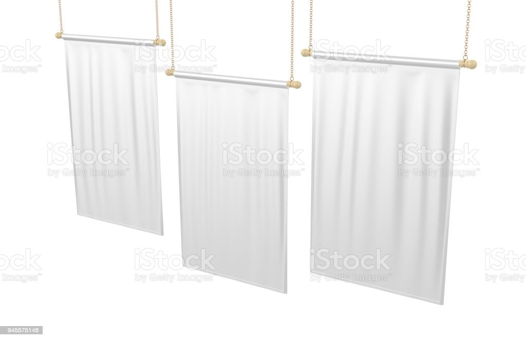 White blank Vertical Flag Banner Mock up template. 3d illustration. stock photo