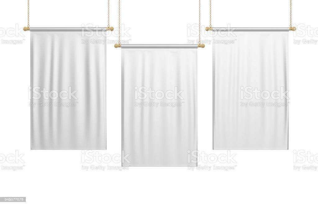 Blanco en blanco Vertical bandera bandera falsa encima de plantilla. Ilustración 3D. - foto de stock