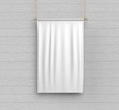 white blank vertical flag banner mock up template 3d illustration