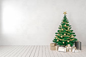 White blank wall empty interior with christmas tree and gifts. 3d render illustration mockup.