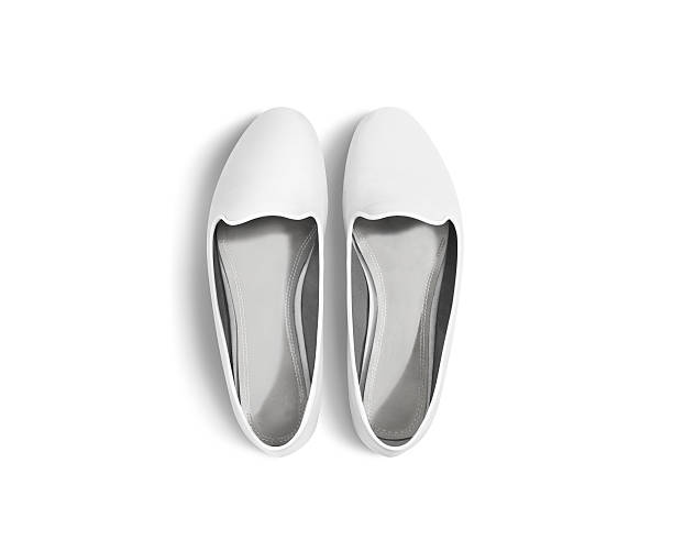 white blank women shoes mockup isolated, top view, clipping path. - flat shoe stock photos and pictures