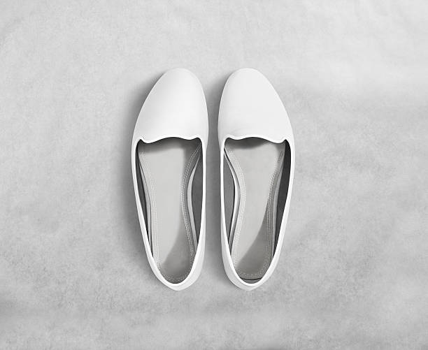 white blank women shoes mockup stand isolated, clipping path. - flat shoe stock photos and pictures