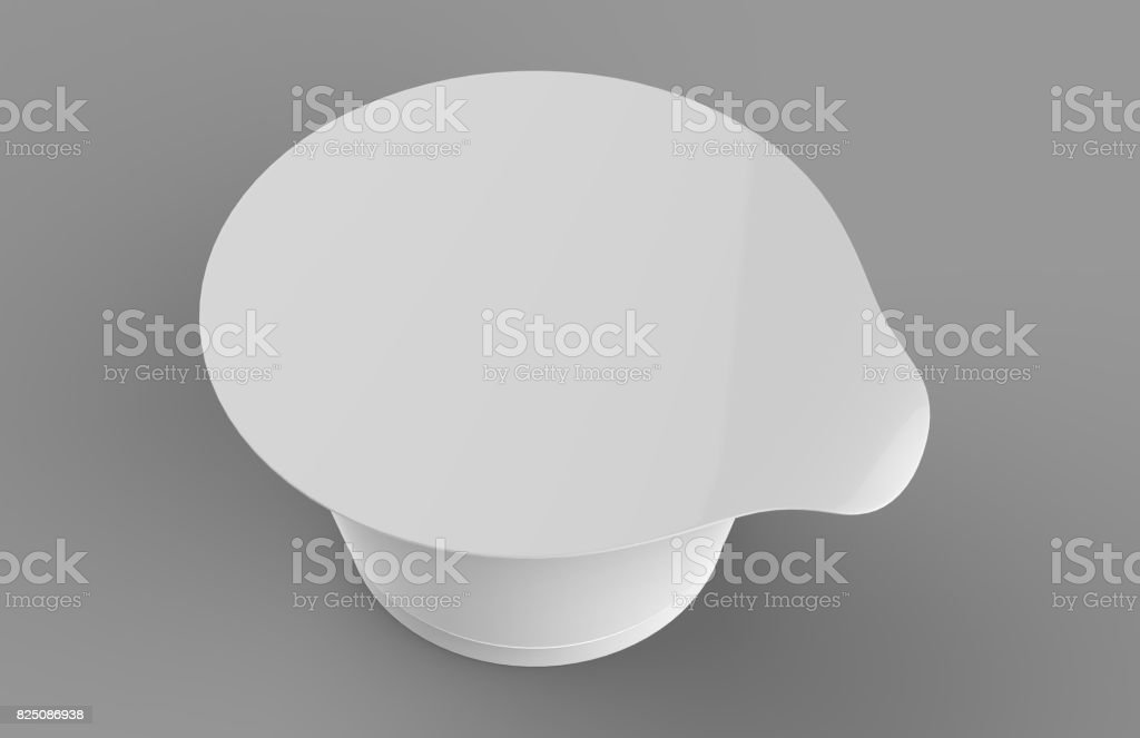 White blank yogurt, ice cream or sour creme cup package on white background. 3D mock up of container with lid isolated. Template for your design. 3d render illustration. stock photo