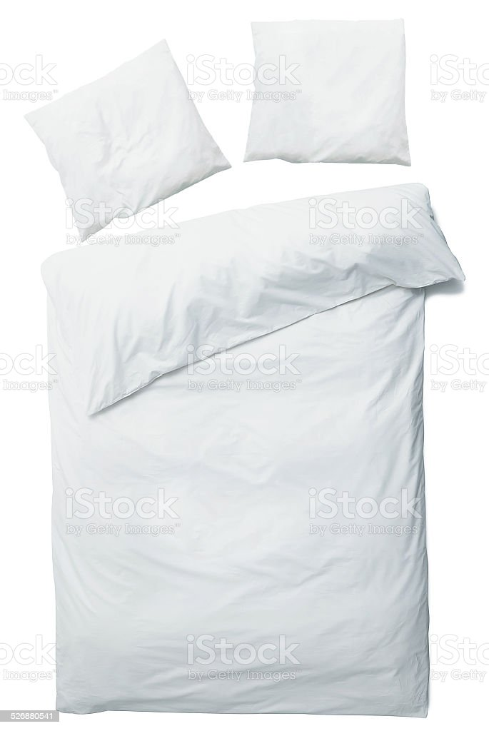 White blanket and pillows stock photo